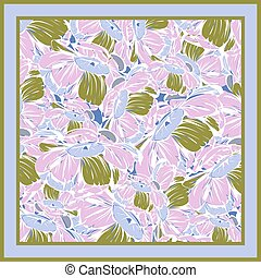 Delicate colors of silk scarf with flowering peony. Hand drawn design.