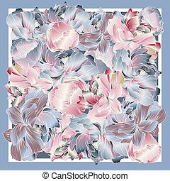Delicate colors of silk scarf with flowering peony.