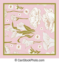 Delicate colors of silk scarf with flowering.