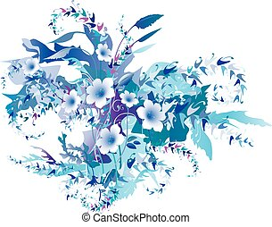 Delicate Frozen Flowers. Floral decorative background vector illustration EPS-8.