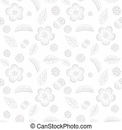 Delicate floral seamless background with flowers and leaves .