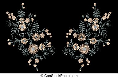 Delicate flower embroidery with wild blooming plants chamomile daisy butterfly gerbera. Fashion ornament neckline patch vector illustration