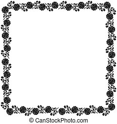 Delicate frame with black peony flowers