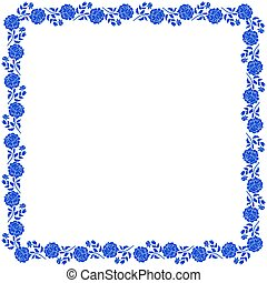 Delicate frame with blue peony flowers isolated on white background.