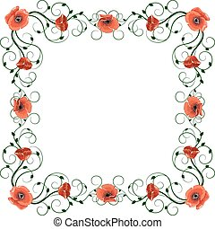 Delicate frame with red poppies isolated on white background.