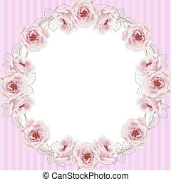 Delicate frame with roses and pearls