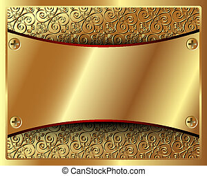 Delicate gold frame with pattern and in the center of the plate
