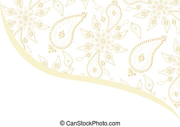 Delicate golden paisley seamless pattern card