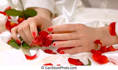 Delicate hands and flower, slow motion. Well-groomed female...