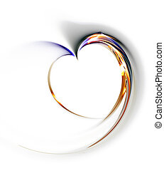 Delicate heart on a white background, illustration, abstract, computer-generated, fractal art