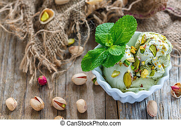Delicate homemade ice cream with pistachios.