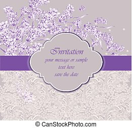 Delicate lace card with lavender flower Vector. handmade vintage ornament design