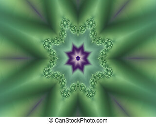 Delicate light green kaleidoscope fractal