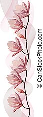 Delicate magnolia branch with pink veil isolated on white background.