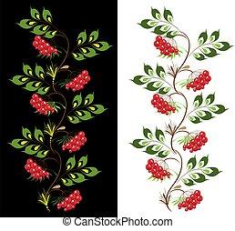 delicate ornament viburnum. vector petrikovsky ornament