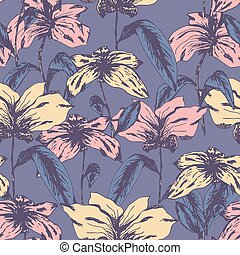 Delicate pale pattern with colorful sketch flowers