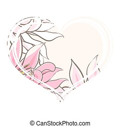 Delicate pink flowers in the heart?