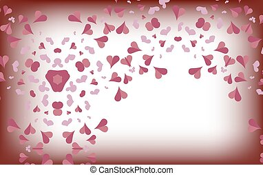 Delicate pink hearts on a blurred white background