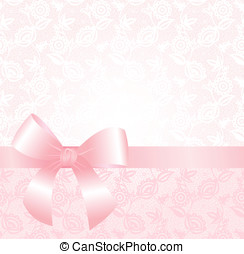 Delicate pink lace background with ribbon