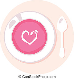 Delicate Pink love fresh Soup in circle