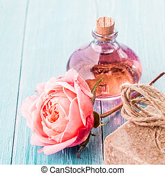 Delicate Pink Rose, Handmade Soap and Aromatic Oil