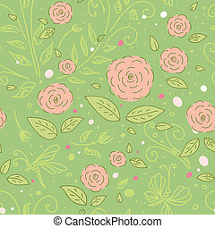 Delicate rose on a green background