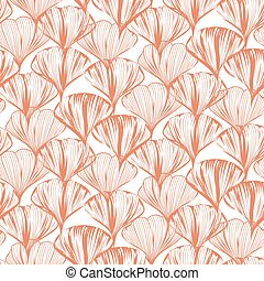 Delicate seamless vector flower pattern with ginkgo leaves.