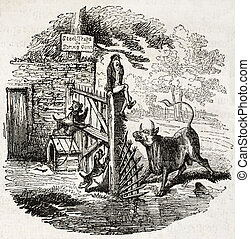 Delicate situation - Old illustration of a man in a delicate...