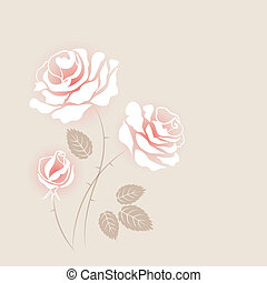 Delicate vintage card with some white roses
