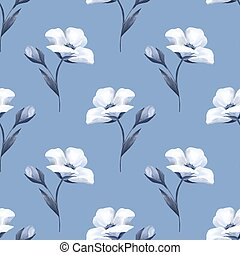 Delicate white flowers. Seamless pattern 2