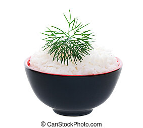 A simple bowl of rice delicately garnished with a feathery sprig of dill. Shot on white background.