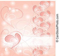 delicato, romantico, rosa, cuori, scheda