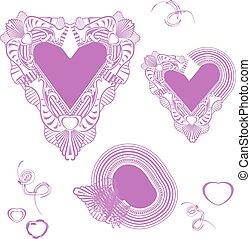 delicato, rosa, hearts., valentina, day., strokes., mano, pittura