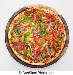 Delicioius pizza on white background