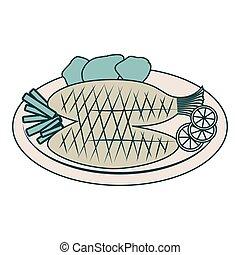 delicioso, alimento de mar, menú, icono