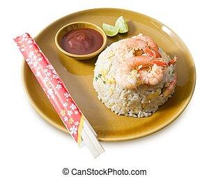 delicioso, camarón, arroz frito, blanco, plano de fondo