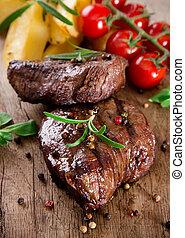 delicioso, carne de vaca, filetes