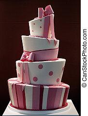 delicioso, divertido, adornado, torta de la boda