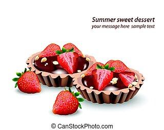 delicioso, dulces, y, postres, con, fruits, chocolate,...