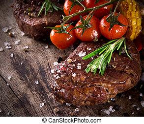 delicioso, filete de la carne de vaca
