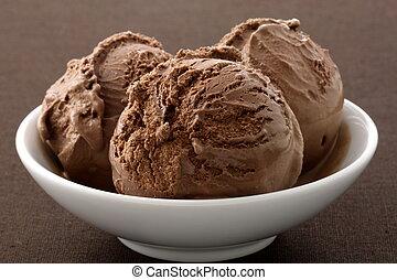 delicioso, gastrónomo, chocolate, crema, hielo