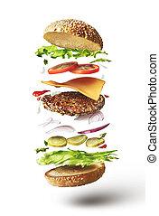 delicioso, hamburguesa, con, vuelo, ingredientes
