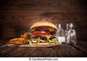 delicioso, hamburguesa, en, madera