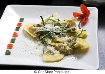 delicioso, italiano, plato de las pastas