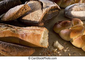 delicioso, recientemente, de madera, plano de fondo, horneó pan