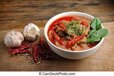 delicioso, tailandés, panang, curry