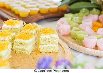 delicioso, tailandés, postre, con, pastel, conjunto