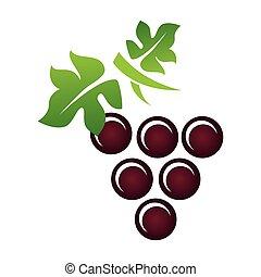 delicioso, vino, uva, icono