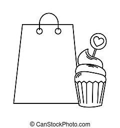 delicious and fresh cupcake with bag shopping