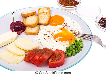 Delicious and healthy breakfast on plate on white